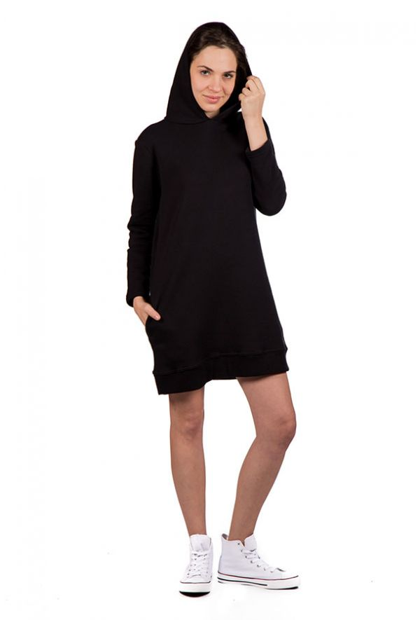 Slogan Riffy Long Hoodie Dress - Black - Veenofs