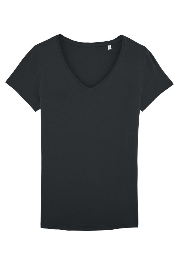 Slogan Women's Basic V-Neck Regular Fit T-Shirt - Black - Veenofs
