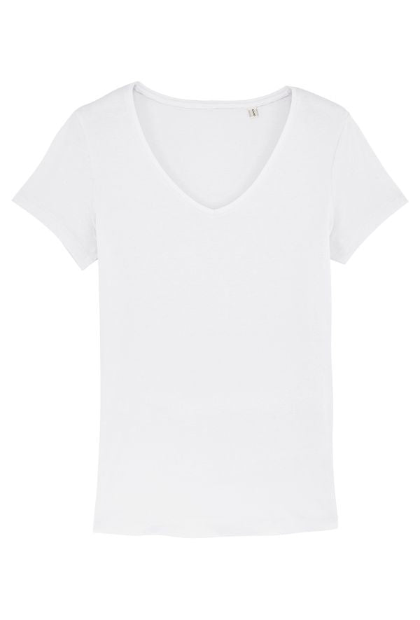 Slogan Women's Basic V-Neck Regular Fit T-Shirt - White - Veenofs
