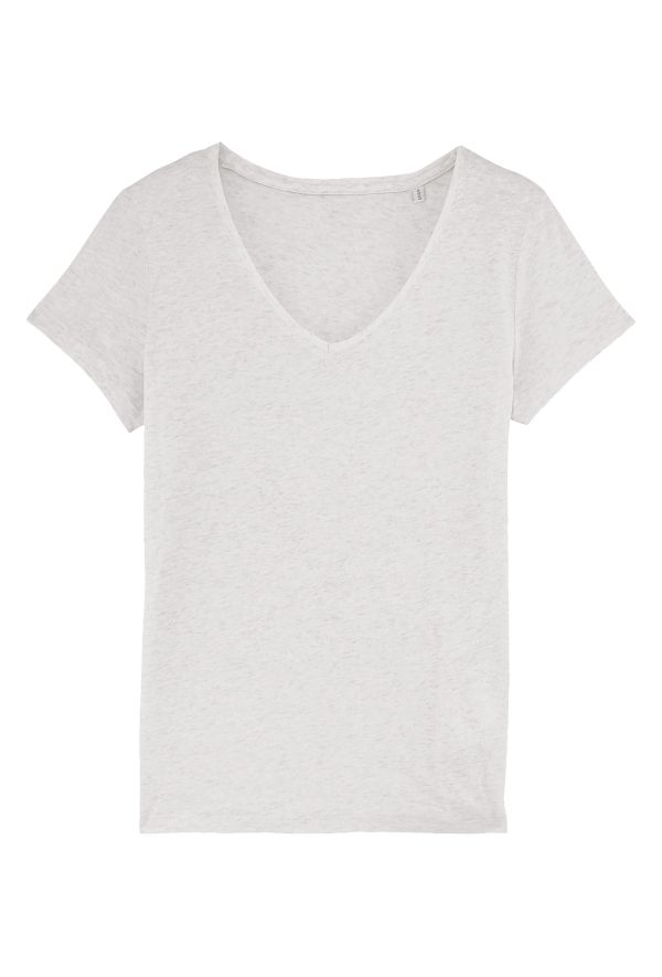 Slogan Women's Basic V-Neck Regular Fit T-Shirt - Cream Melange - Veenofs