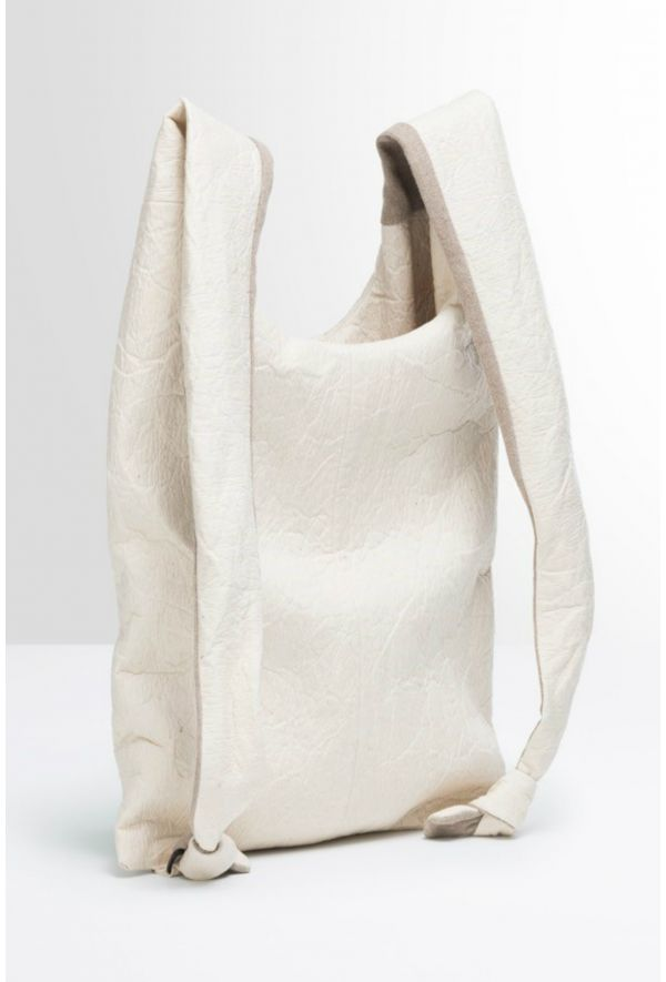 Slogan Pinatex Shopper Bag/Backpack - White - Veenofs