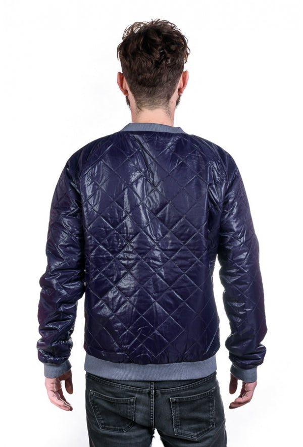 Slogan Taru Reversible Jacket By Szum - Grey/Dark Blue - Veenofs