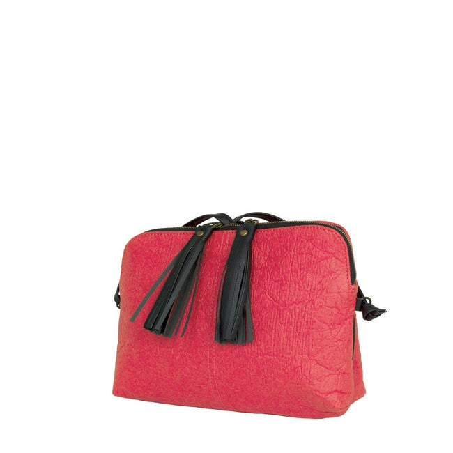 Vegan Camille Piñatex Crossbody Bag - Red - Veenofs