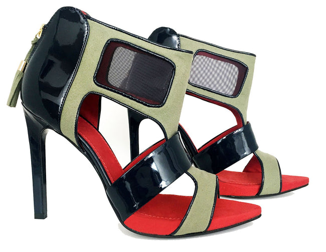 kaki sandals by No One's Skin vegan heels by Designer Ivana Basilotta