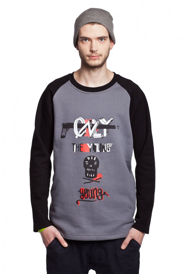 Slogan Young Sweatshirt By Szum - Grey - Veenofs