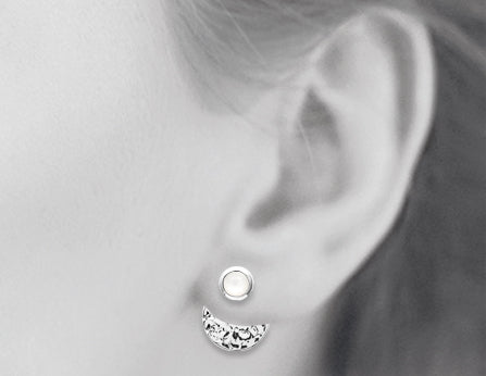Silver Hammered Disc with Moonstone 3-Way Earrings