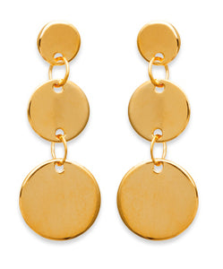 Gold Linked Discs Drop Earrings