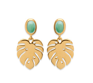 Gold Palm with Aventurine Stone Drop Earrings