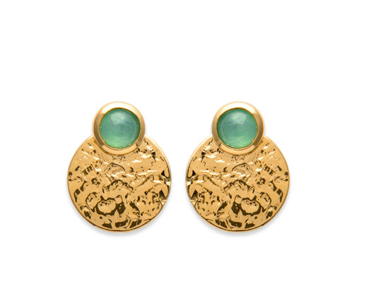 Gold Hammered Disc with Aventurine 3-Way Earrings