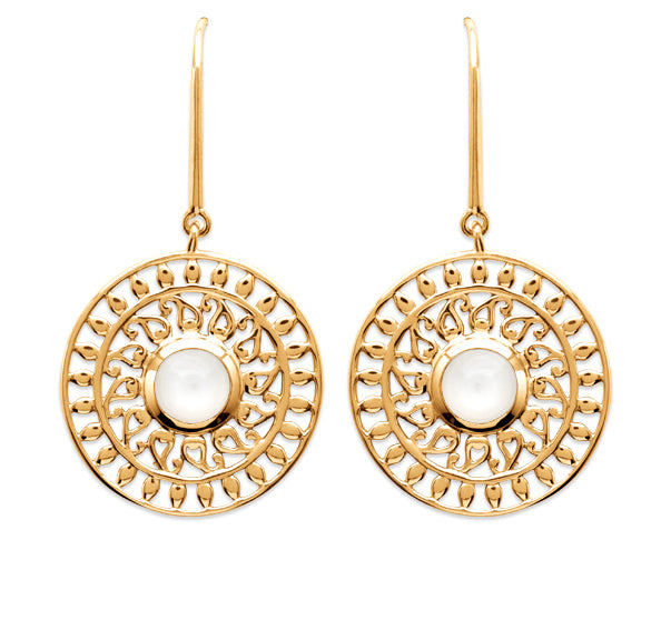 Gold Sun with Moonstone Drop Earrings