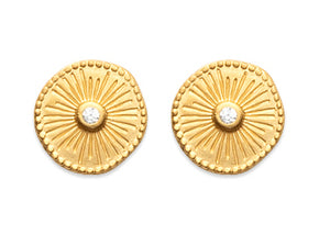 Gold Stud with Crystal Earrings