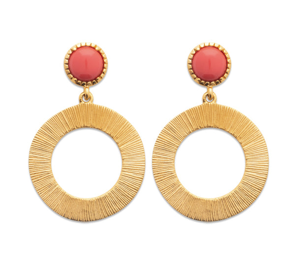 Gold Hoop and Coral Drop Earrings