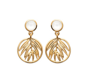 Gold Palm Leaf and Mother of Pearl Drop Earrings