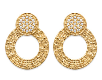 Gold Discs Crystal Enhanced Earrings