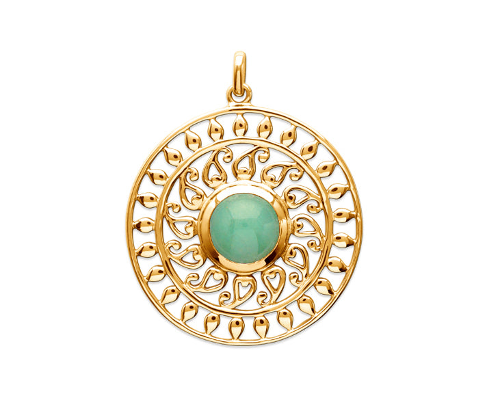 Gold Stylised Sun with Aventurine Stone Pendant