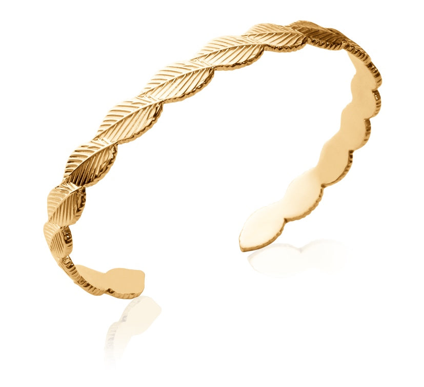 Gold Embossed Tree Leaves Bangle