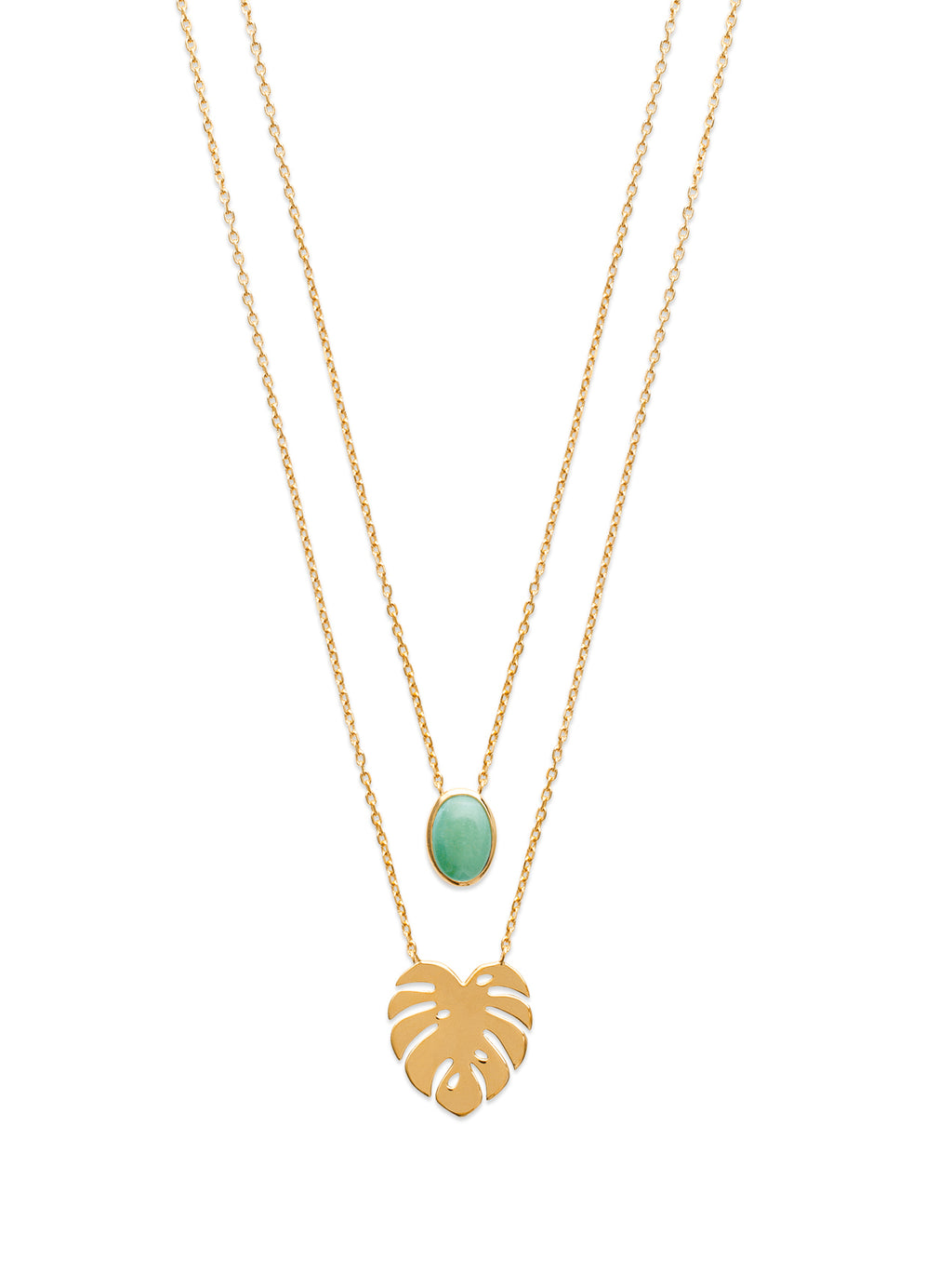 Gold Palm Leaf and Aventurine Stone Multi-Chain Necklace