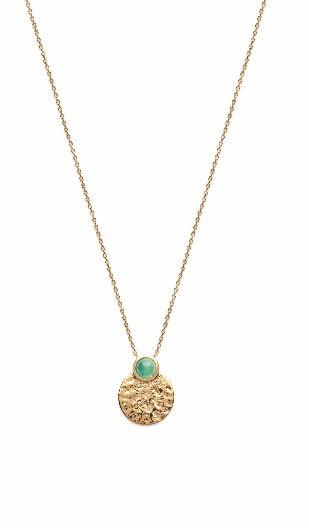 Gold Hammered Disc with Aventurine Necklace