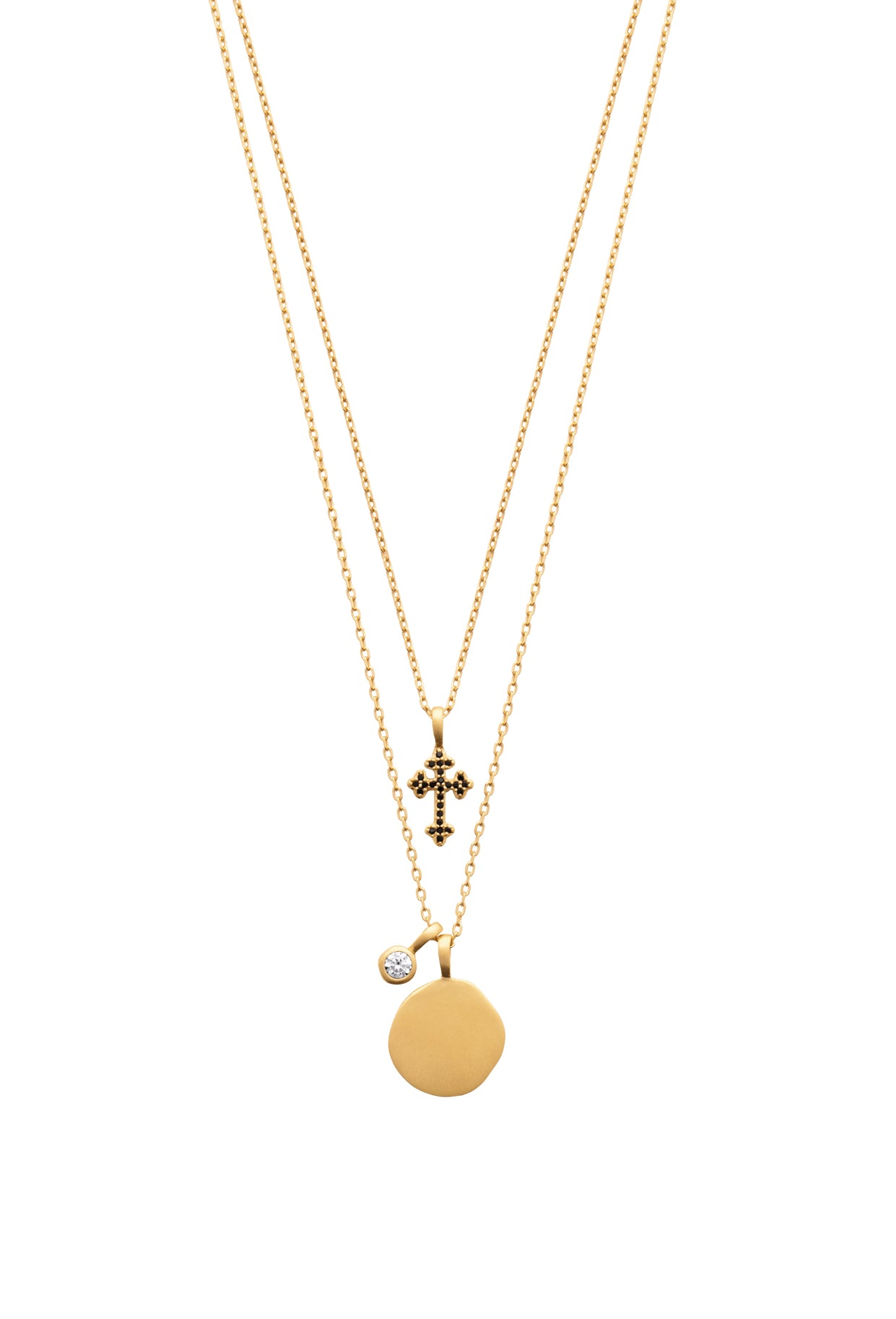Gold Sphere Pendant with Cross Multi-Chain Necklace