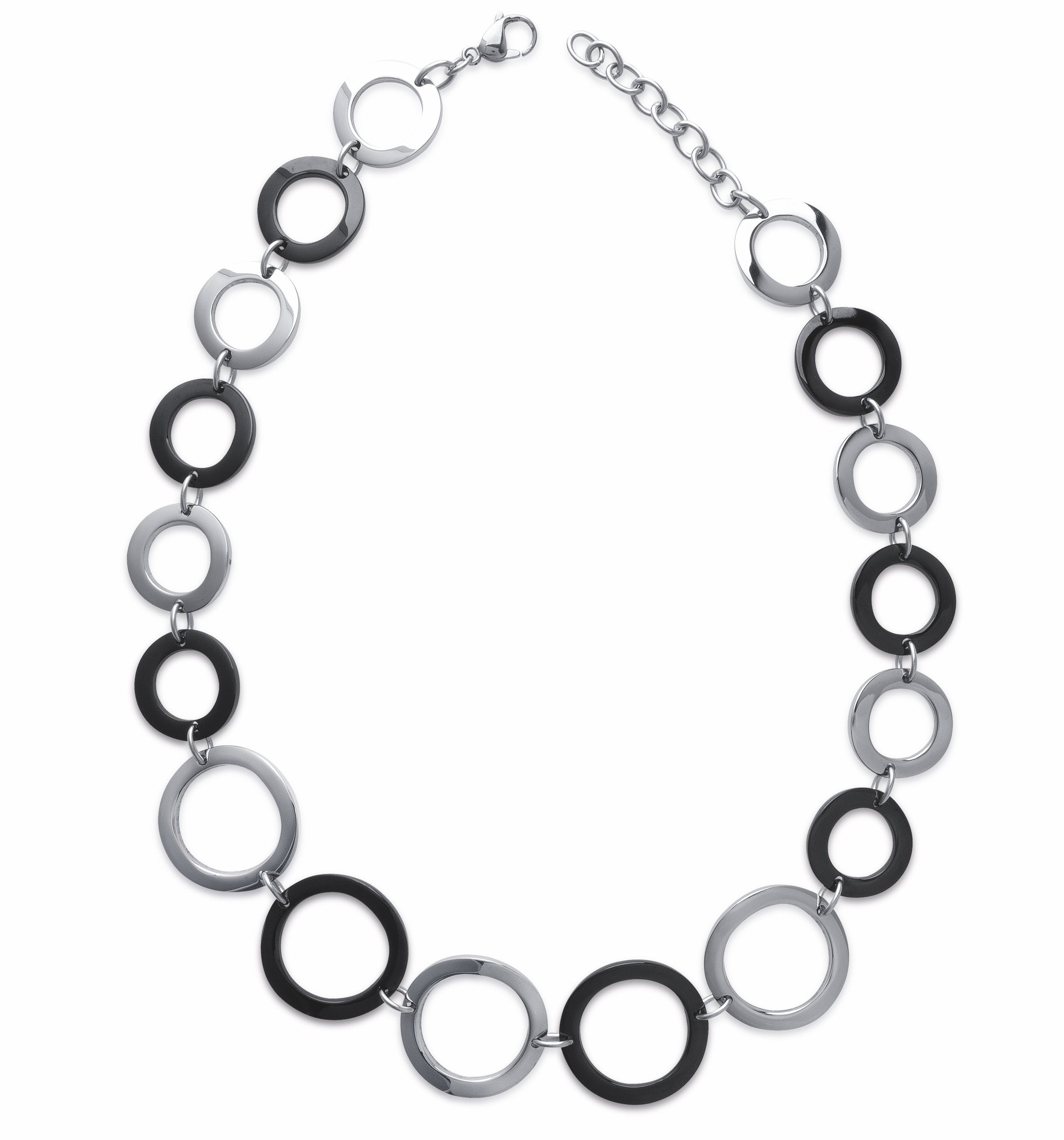 Black and Silver 60s Linked Necklace