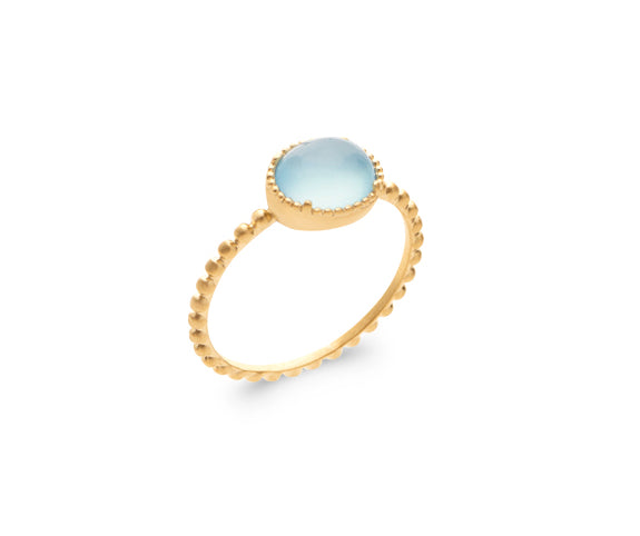 Gold Beads Setting Oval Blue Agate Ring