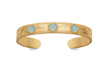 Gold Fern Embossed Bangle with Agate