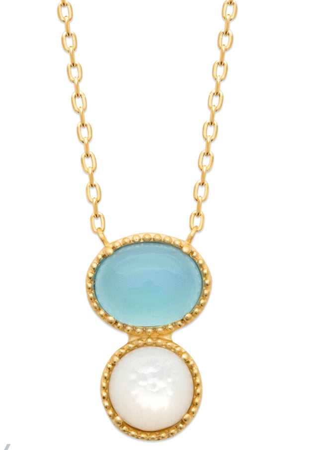 Gold Beads Setting Oval Blue Agate and Mother of Pearl Necklace