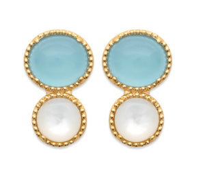 Gold Beads Setting Oval Blue Agate and Mother of Pearl Earrings