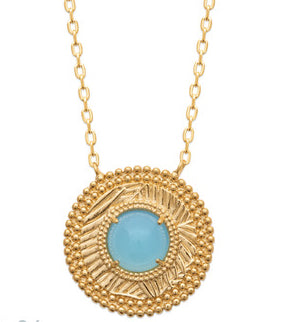 Gold Coin Necklace with Blue Agate Heart