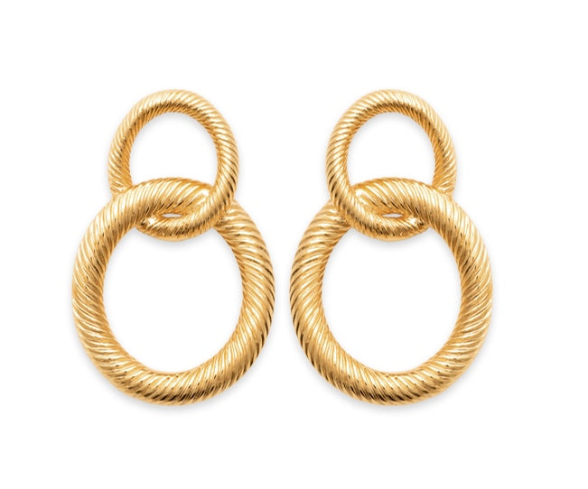 Double Interlocked Hoop Drop Earrings