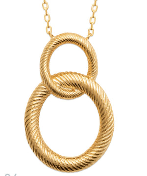 Double Interlocked Hoop Necklace