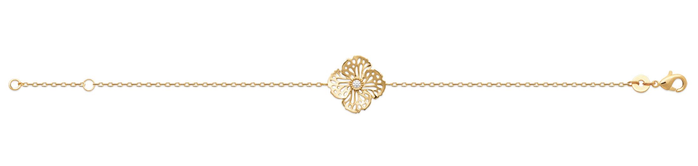Gold Flower with Crystal Heart Bracelet