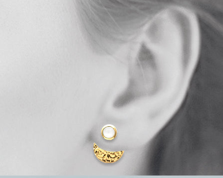 Gold Hammered Disc with Moonstone 3-way Earrings