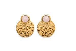 Gold Hammered Disc with Pink Quartz 3-way Earrings