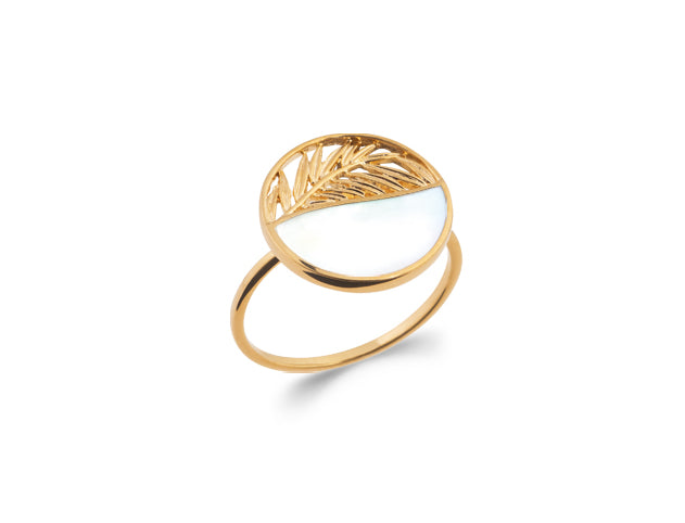Gold Palm Leaf and Mother of Pearl Ring