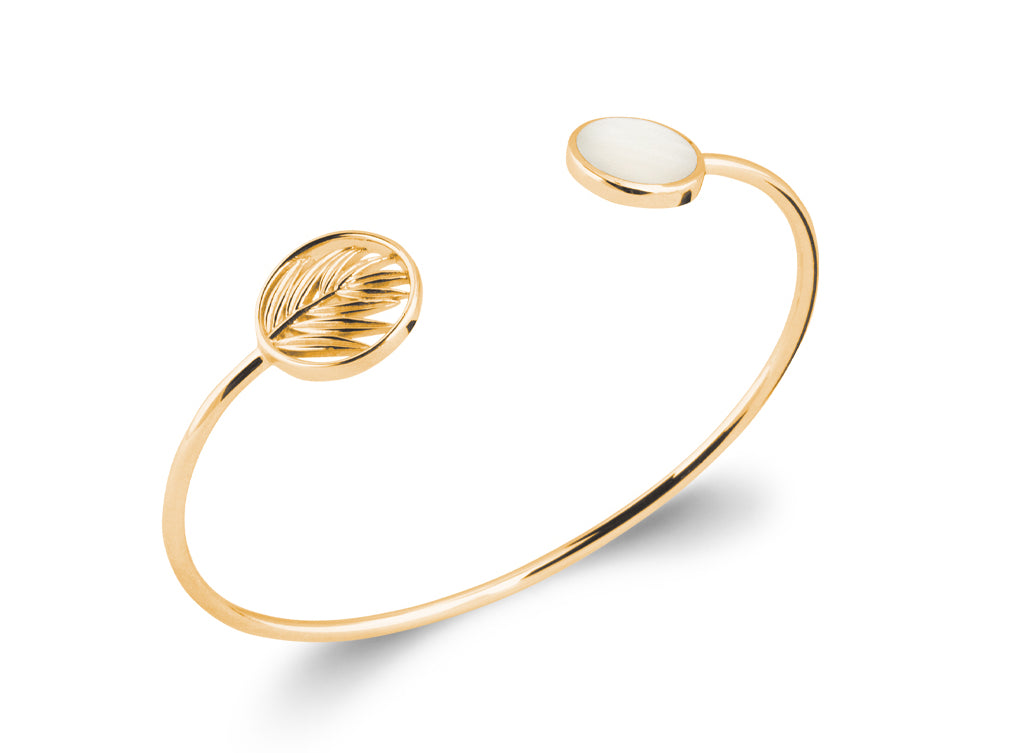 Gold Palm Leaf and Mother of Pearl Bangle