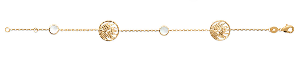 Gold Palm Leaf Mother of Pearl Bracelet