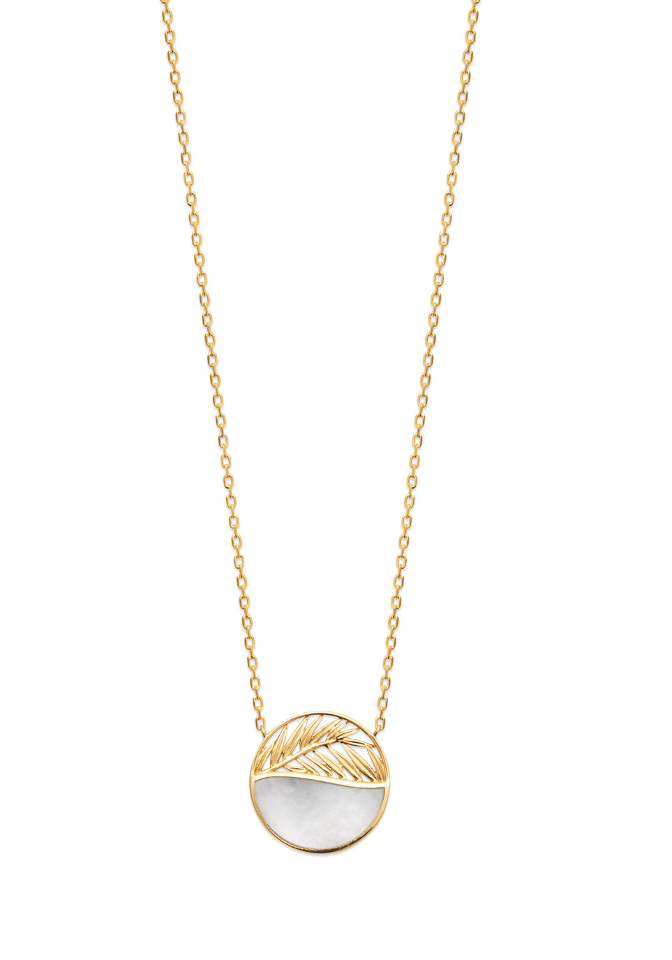 Gold Palm Leaf and Mother of Pearl Necklace