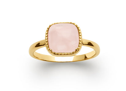 Gold Pink Quartz Cabochon Ring