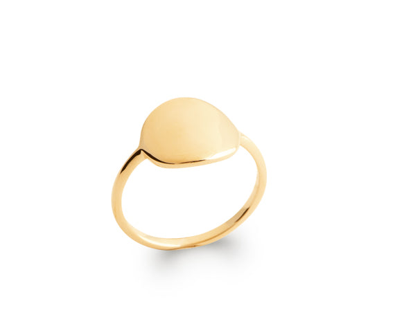 Gold Round Signet Ring
