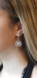 Round Hammered Disc Stud Earrings