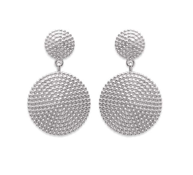 Silver Hammered Beads Pendant Earrings