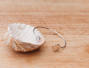 Silver Hammered Disc and Moonstone Bangle
