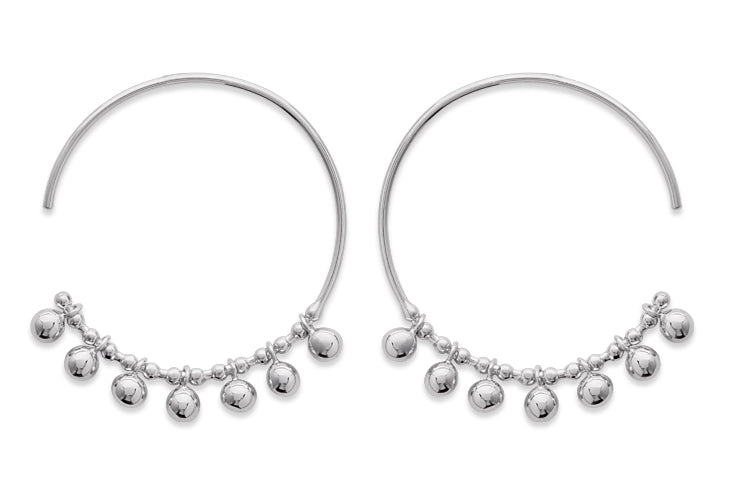 Silver Hoops with Silver Ball Earrings