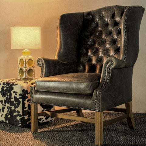 Diamond Buttoned Wing Chair