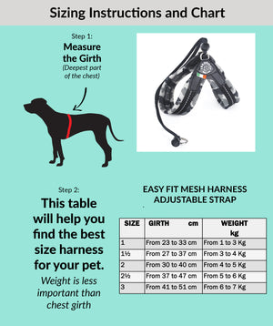 Easy Fit  Grey Camo Mesh Harness with Adjustable Strap