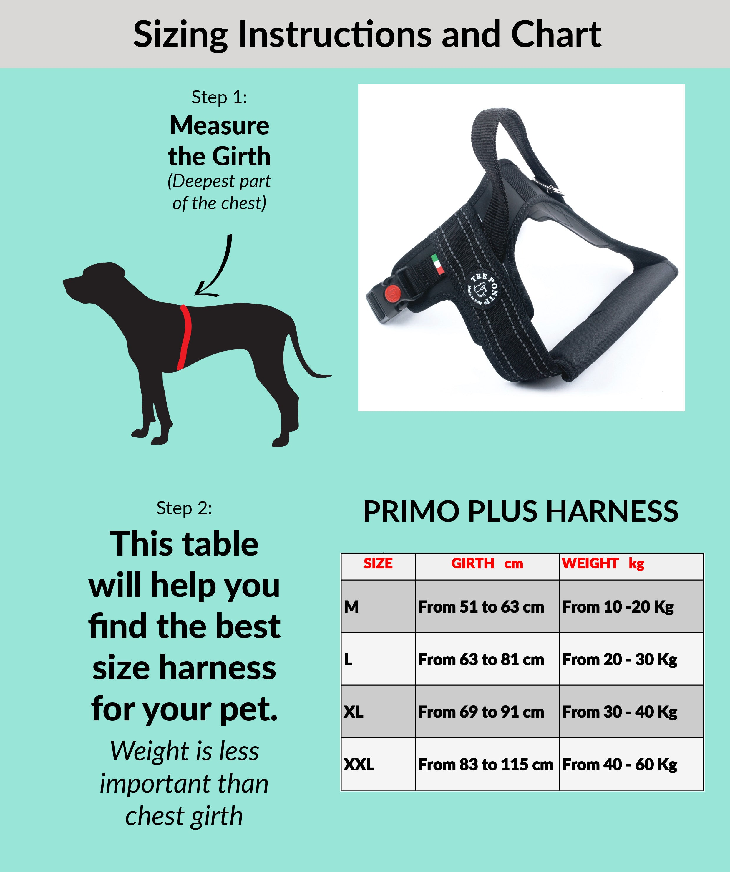 Primo Plus Black Harness with Handle