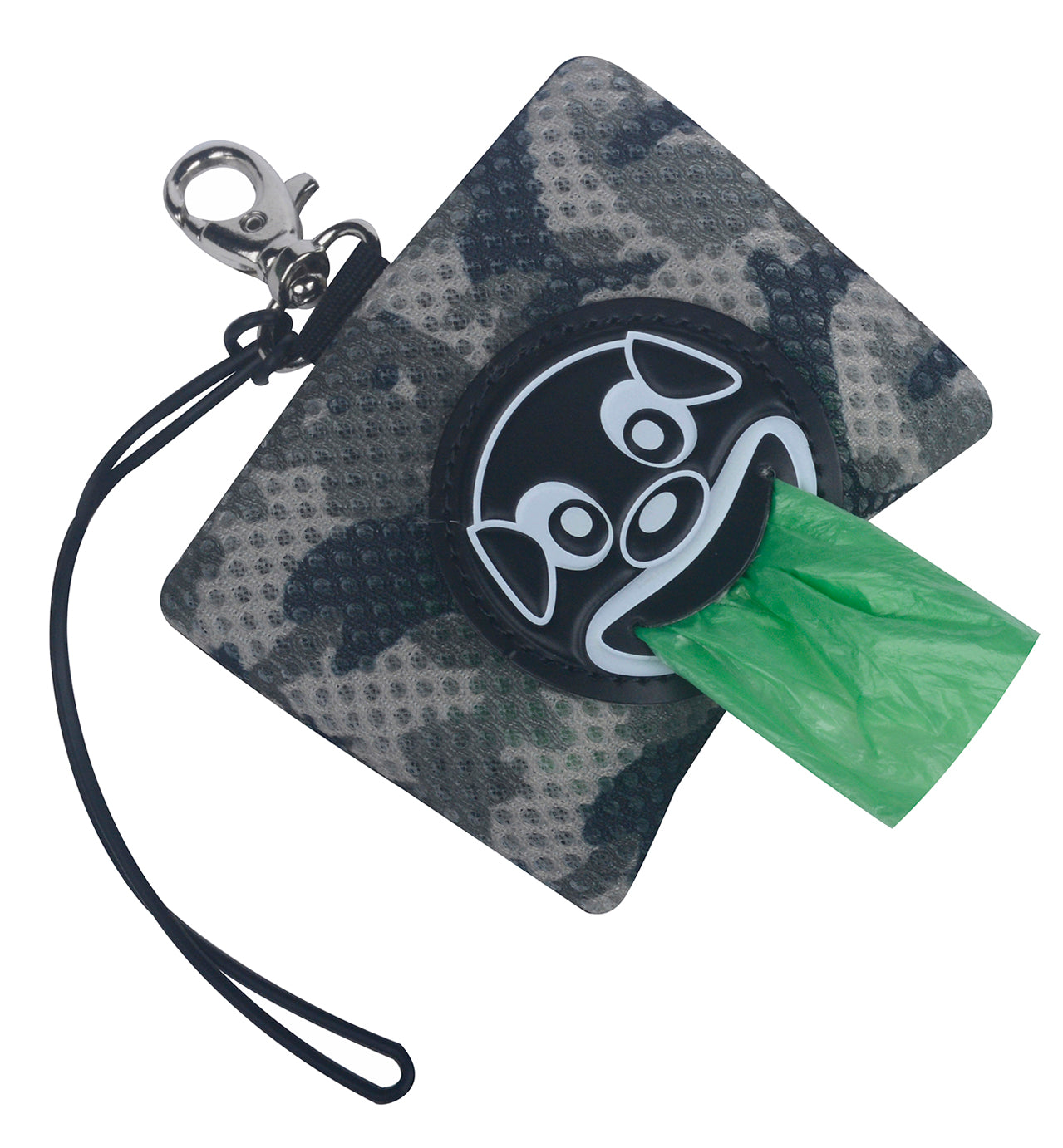 Mesh Smiley Dog Poo Bag Dispenser Grey Camo