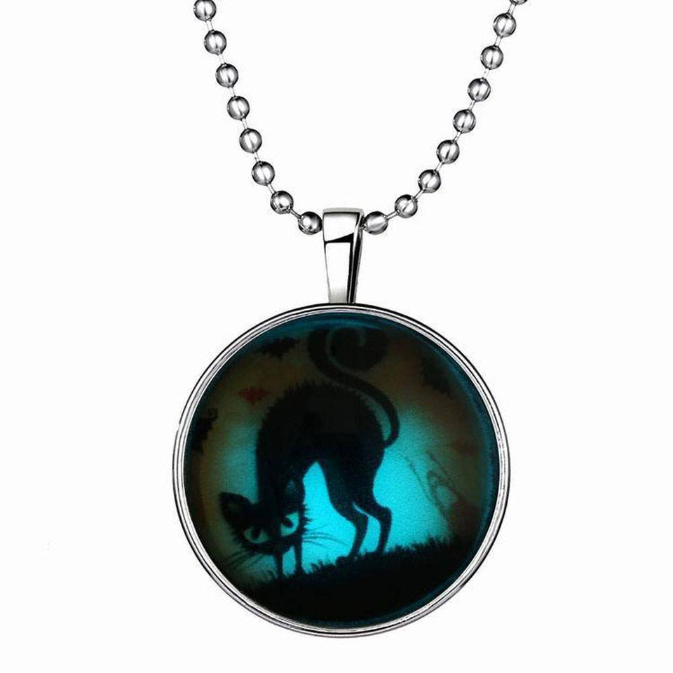 Thriller Halloween Cat Pendant Necklace