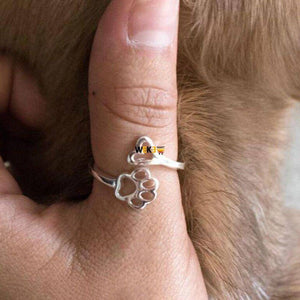Paw Print Love Heart Ring - The Pet Needs